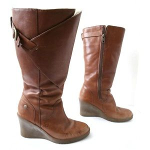 UGG Brown Leather Wedge Heel Boots Shearling
